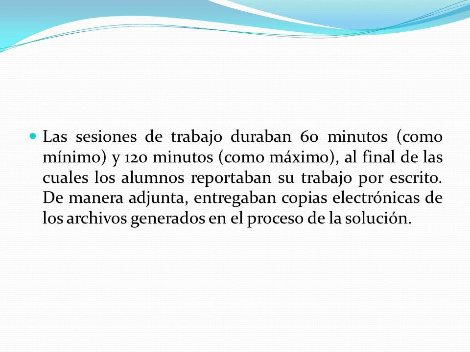 Las sesiones de trabajo duraban 60 minutos (como mínimo) y 120 minutos (como máximo), al final de las cuales los alumnos reportaban su trabajo por escrito.