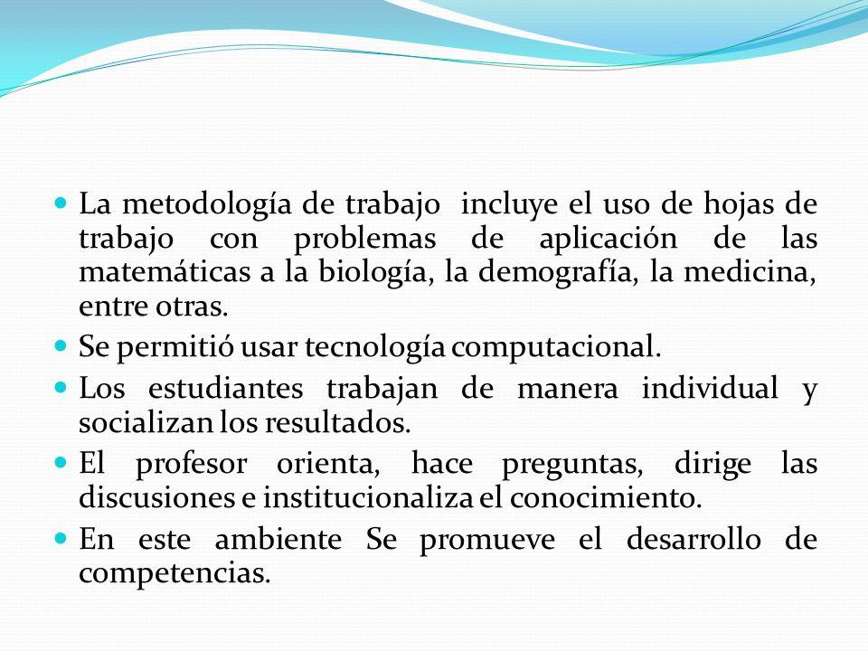 La metodología de trabajo incluye el uso de hojas de trabajo con problemas de aplicación de las matemáticas a la biología, la demografía, la medicina, entre otras.