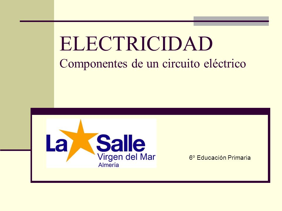 ELECTRICIDAD Componentes de un circuito eléctrico