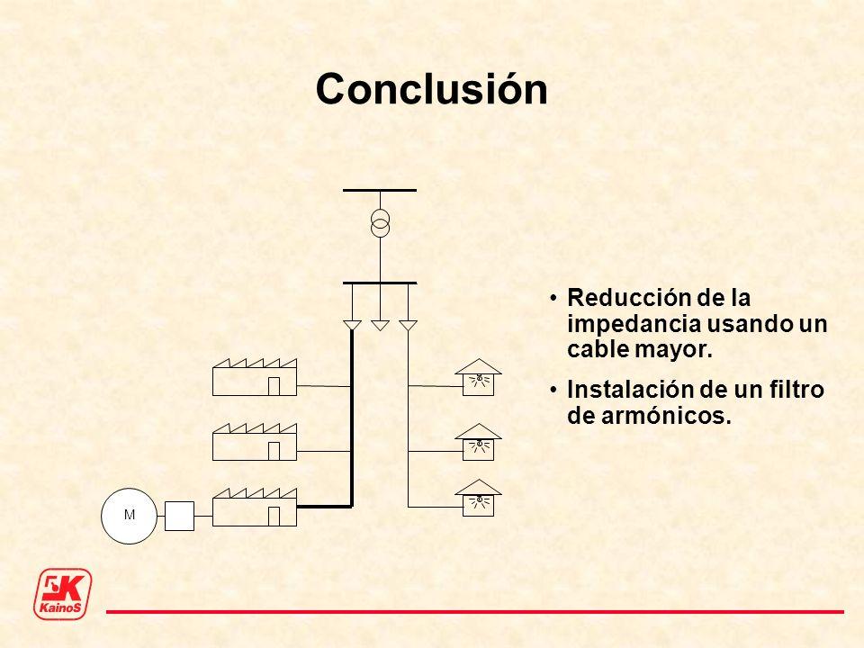 Conclusión Reducción de la impedancia usando un cable mayor.