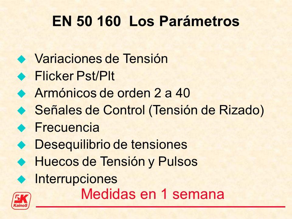 EN 50 160 Los Parámetros Medidas en 1 semana Variaciones de Tensión