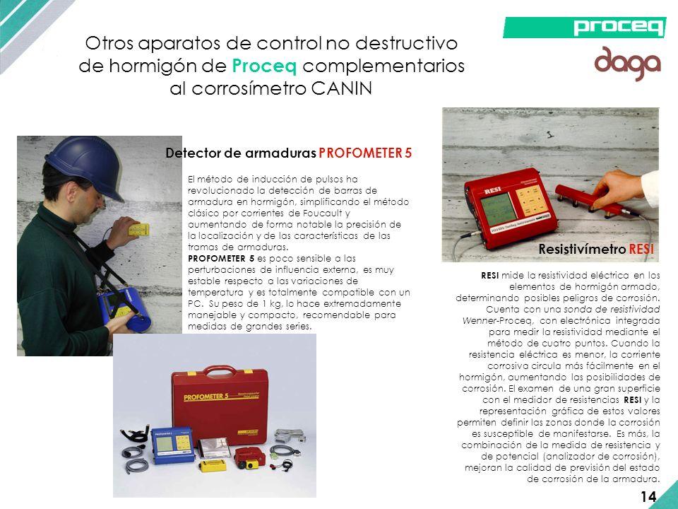 Otros aparatos de control no destructivo de hormigón de Proceq complementarios al corrosímetro CANIN