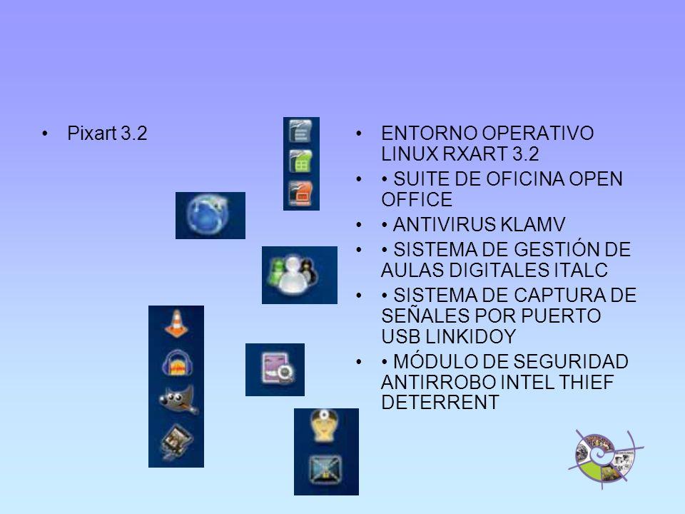 Pixart 3.2 ENTORNO OPERATIVO LINUX RXART 3.2. • SUITE DE OFICINA OPEN OFFICE. • ANTIVIRUS KLAMV. • SISTEMA DE GESTIÓN DE AULAS DIGITALES ITALC.