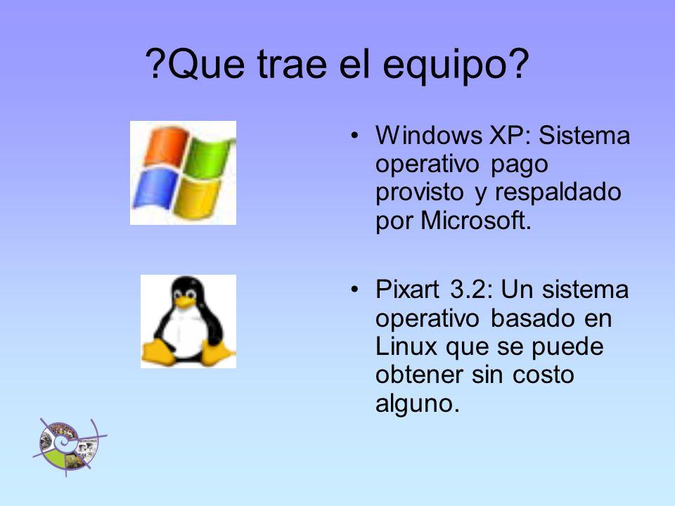 Que trae el equipo Windows XP: Sistema operativo pago provisto y respaldado por Microsoft.