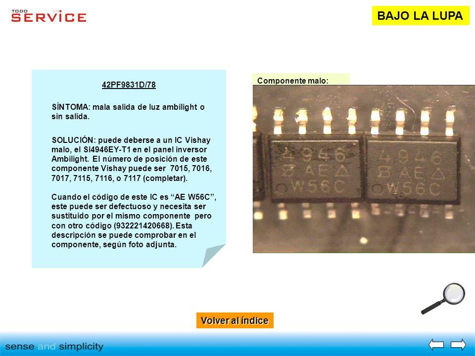 BAJO LA LUPA Volver al índice Componente malo: 42PF9831D/78