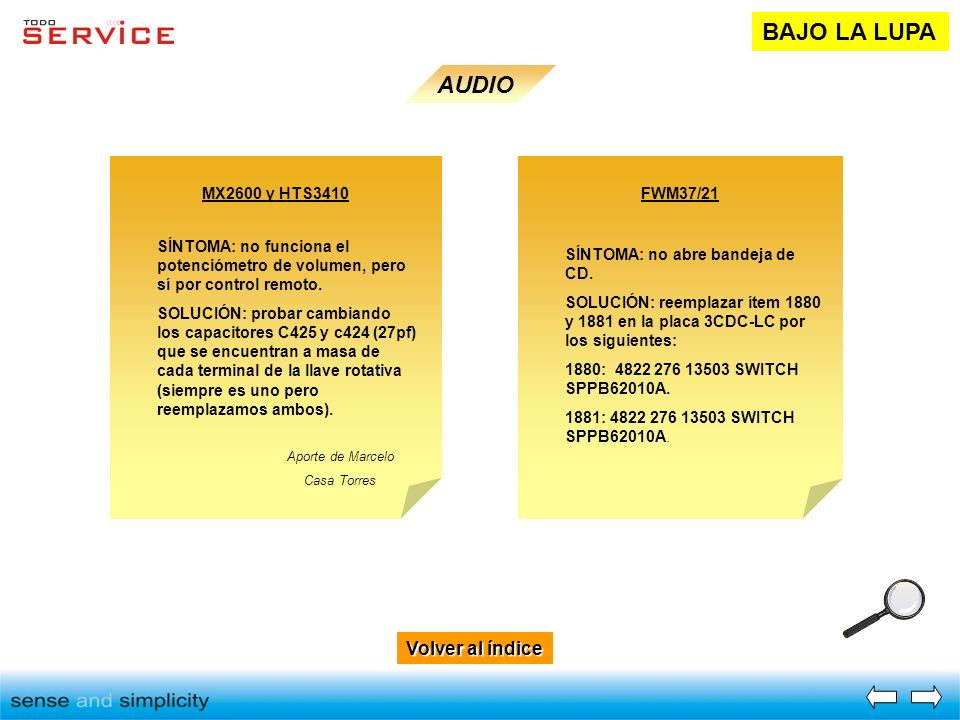BAJO LA LUPA AUDIO Volver al índice MX2600 y HTS3410 FWM37/21