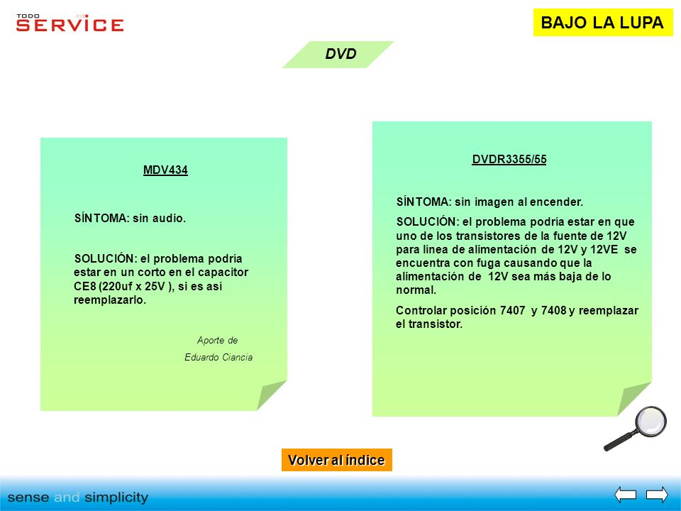 BAJO LA LUPA DVD Volver al índice DVDR3355/55 MDV434