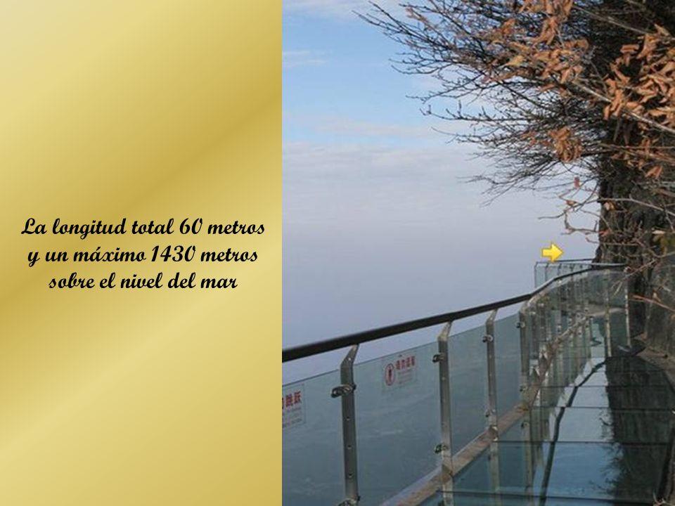 La longitud total 60 metros y un máximo 1430 metros sobre el nivel del mar