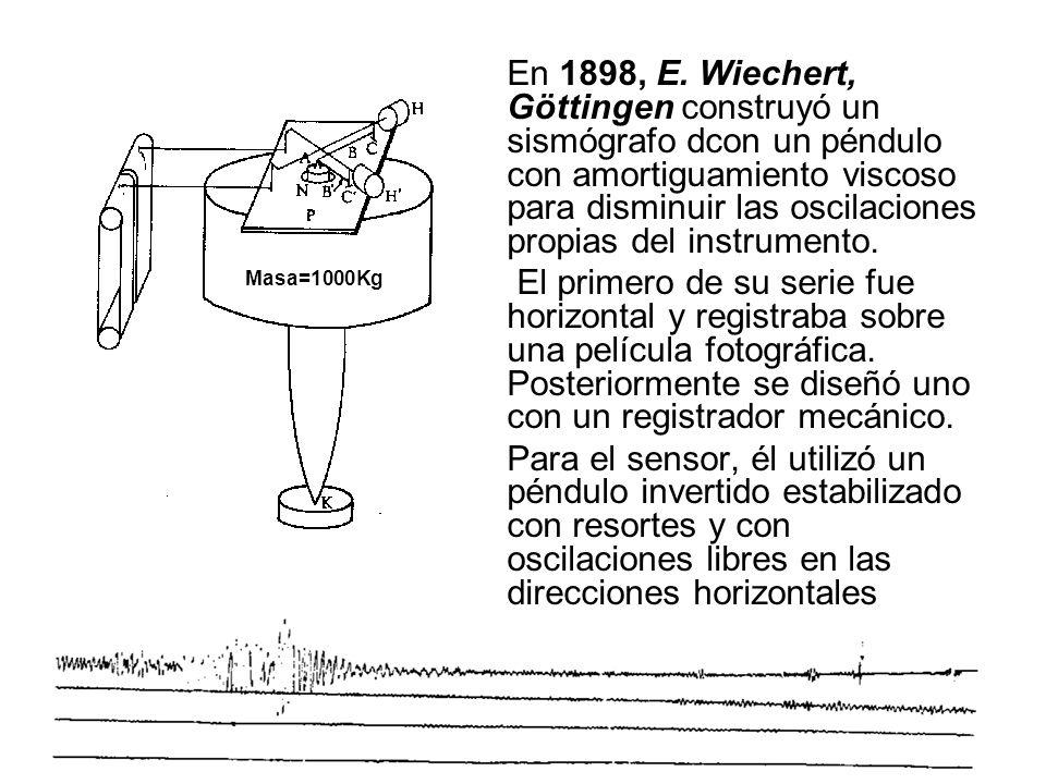 En 1898, E. Wiechert, Göttingen construyó un sismógrafo dcon un péndulo con amortiguamiento viscoso para disminuir las oscilaciones propias del instrumento.