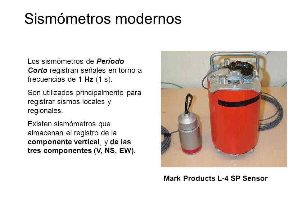 Sismómetros modernos Los sismómetros de Período Corto registran señales en torno a frecuencias de 1 Hz (1 s).