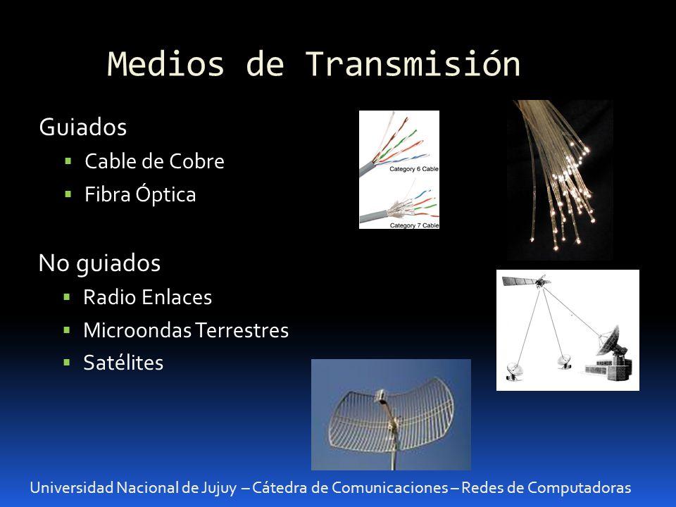 Medios de Transmisión Guiados No guiados Cable de Cobre Fibra Óptica