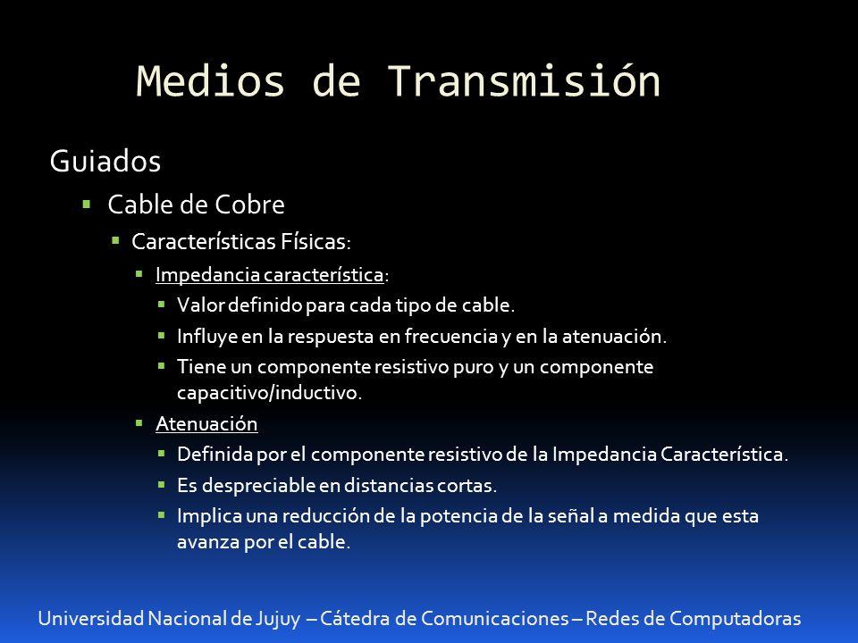 Medios de Transmisión Guiados Cable de Cobre Características Físicas: