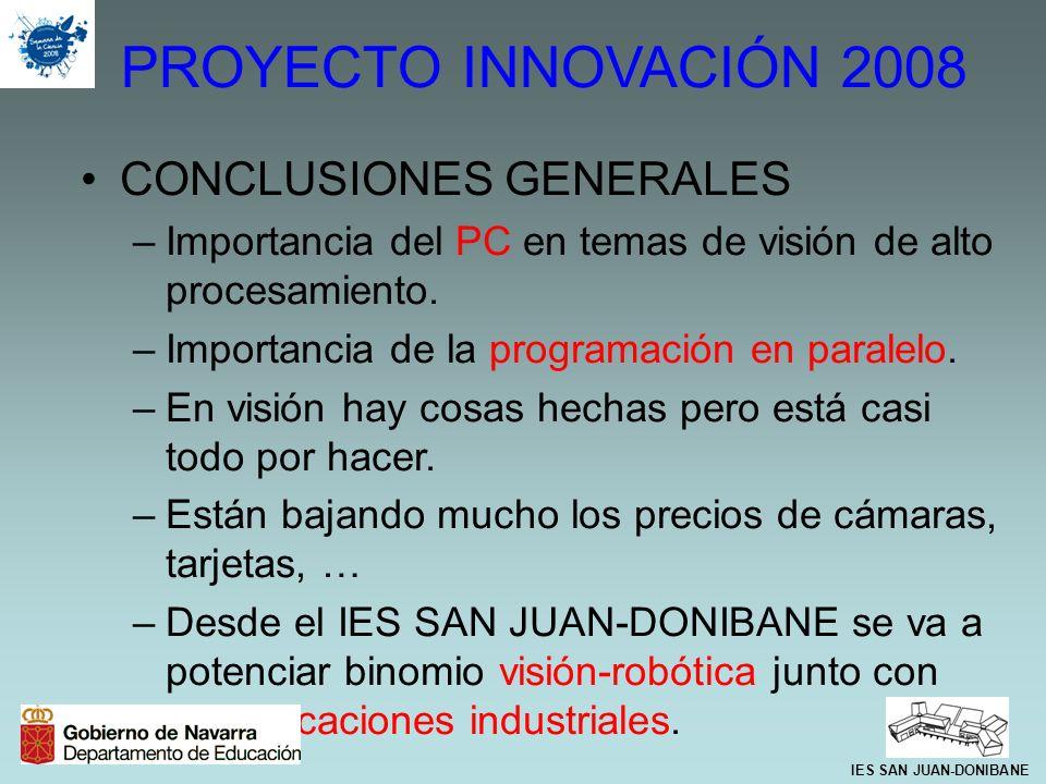 PROYECTO INNOVACIÓN 2008 CONCLUSIONES GENERALES