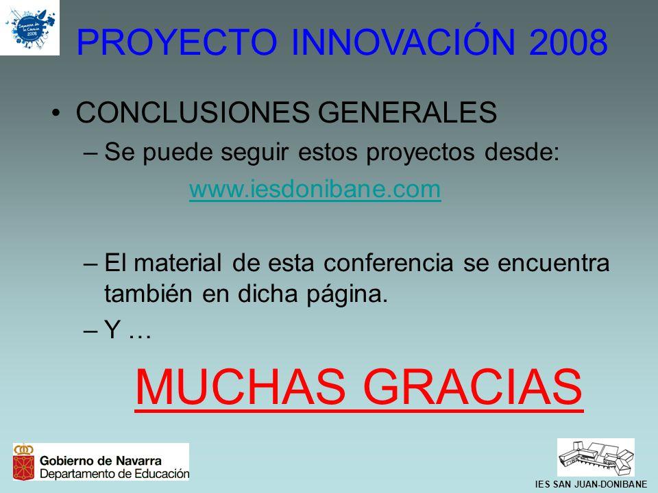 MUCHAS GRACIAS PROYECTO INNOVACIÓN 2008 CONCLUSIONES GENERALES