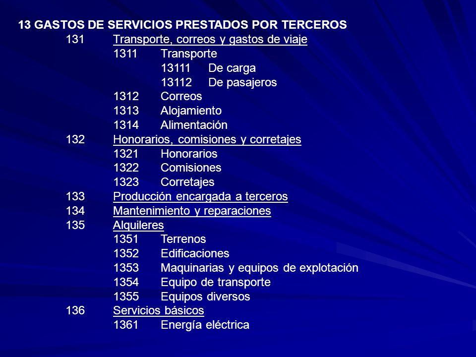 13 GASTOS DE SERVICIOS PRESTADOS POR TERCEROS