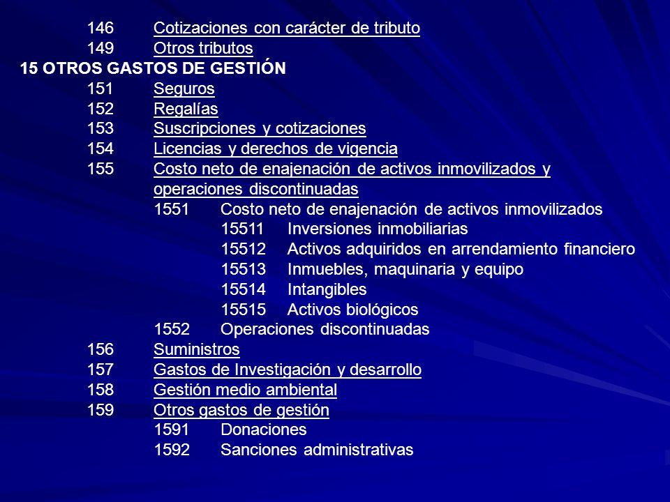146 Cotizaciones con carácter de tributo