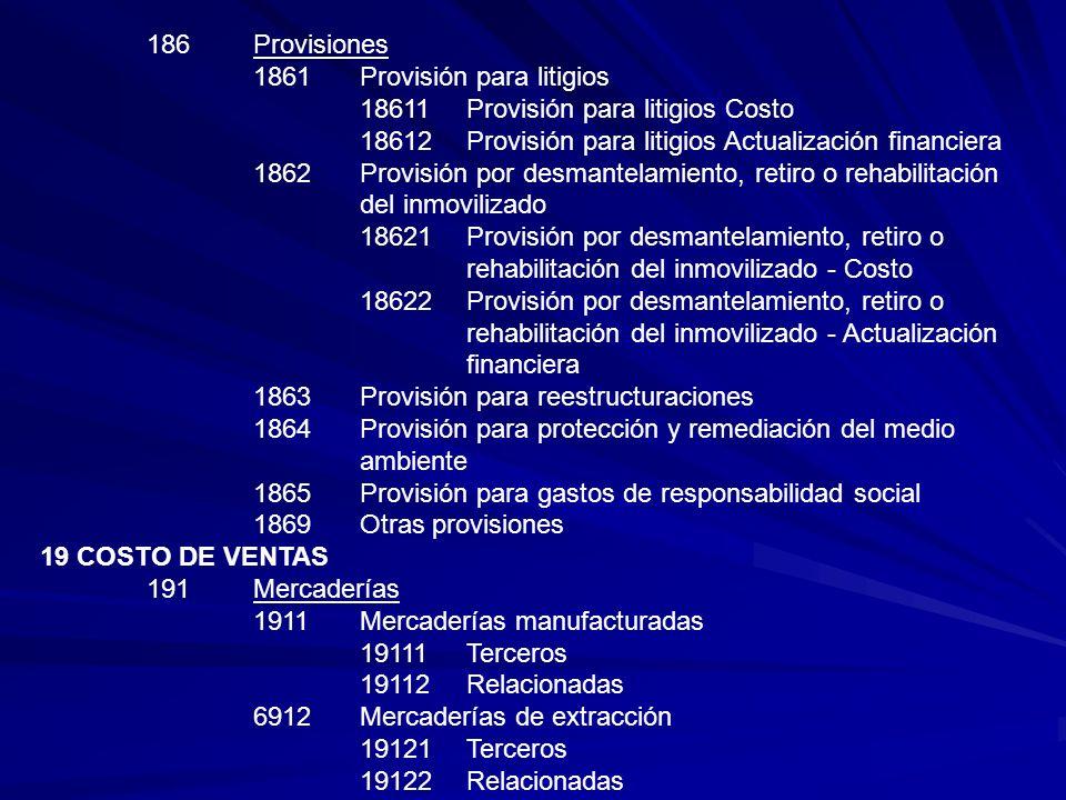 186 Provisiones 1861 Provisión para litigios. 18611 Provisión para litigios Costo. 18612 Provisión para litigios Actualización financiera.