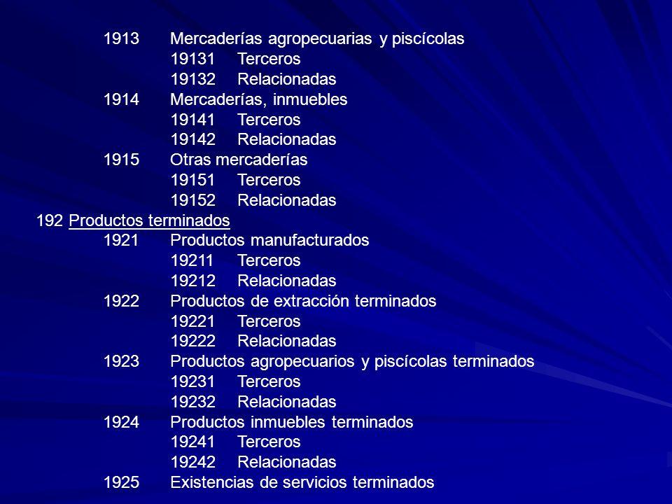 1913 Mercaderías agropecuarias y piscícolas