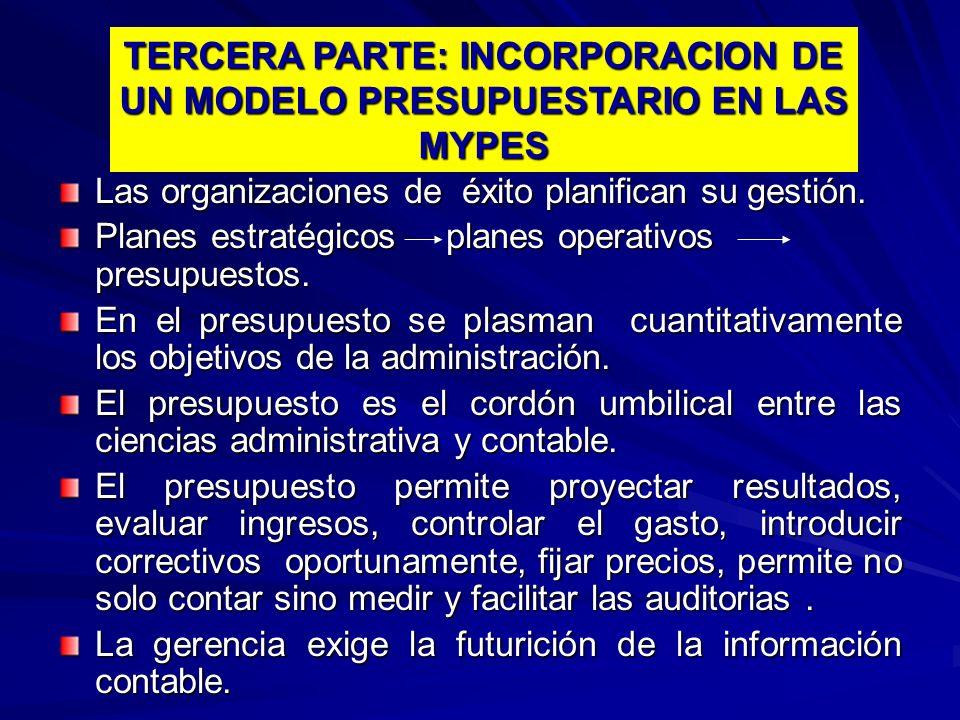 TERCERA PARTE: INCORPORACION DE UN MODELO PRESUPUESTARIO EN LAS MYPES