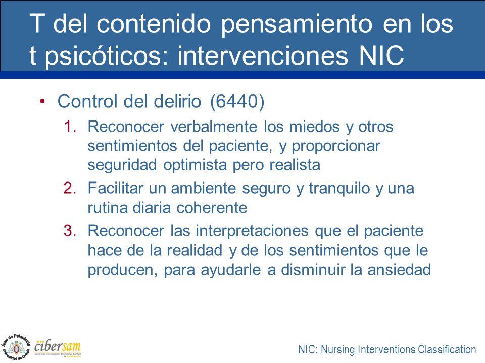 T del contenido pensamiento en los t psicóticos: intervenciones NIC