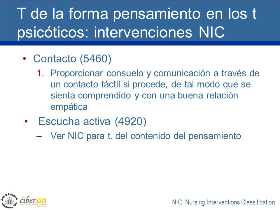 T de la forma pensamiento en los t psicóticos: intervenciones NIC