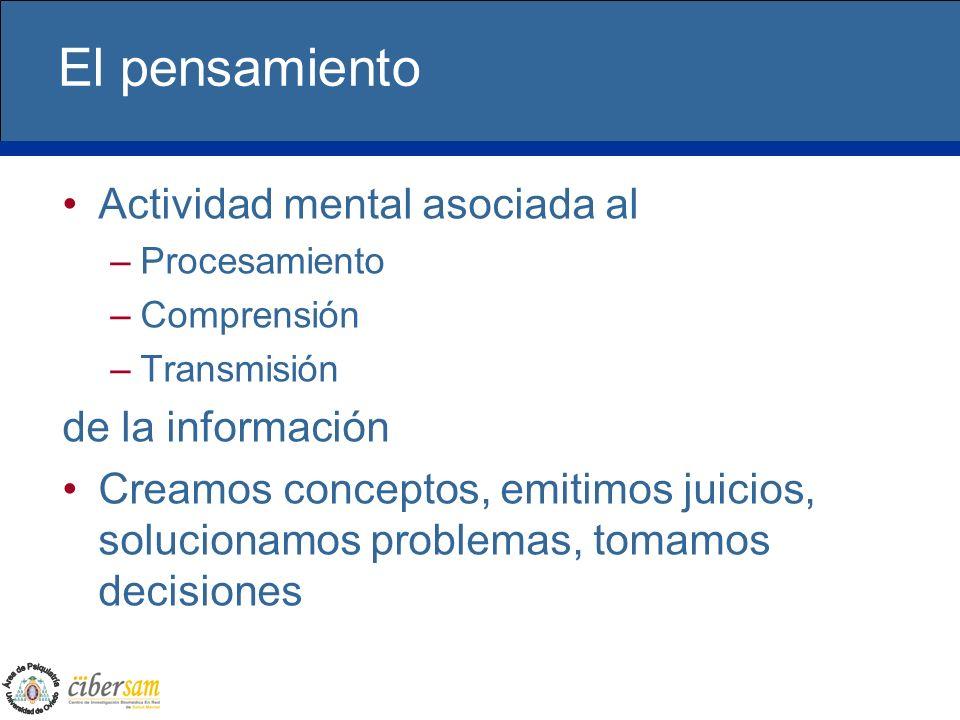 El pensamiento Actividad mental asociada al de la información
