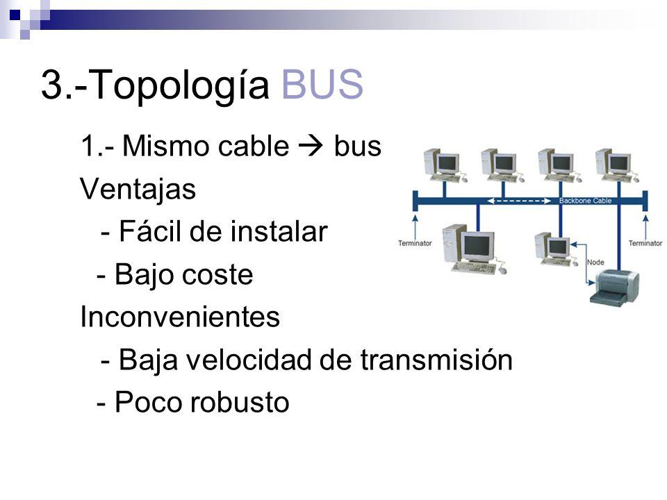 3.-Topología BUS 1.- Mismo cable  bus Ventajas - Fácil de instalar