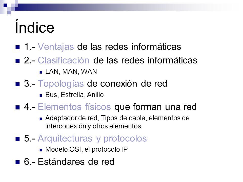 Índice 1.- Ventajas de las redes informáticas