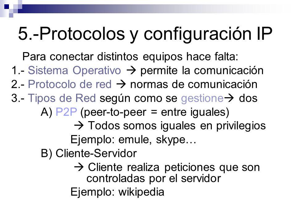 5.-Protocolos y configuración IP
