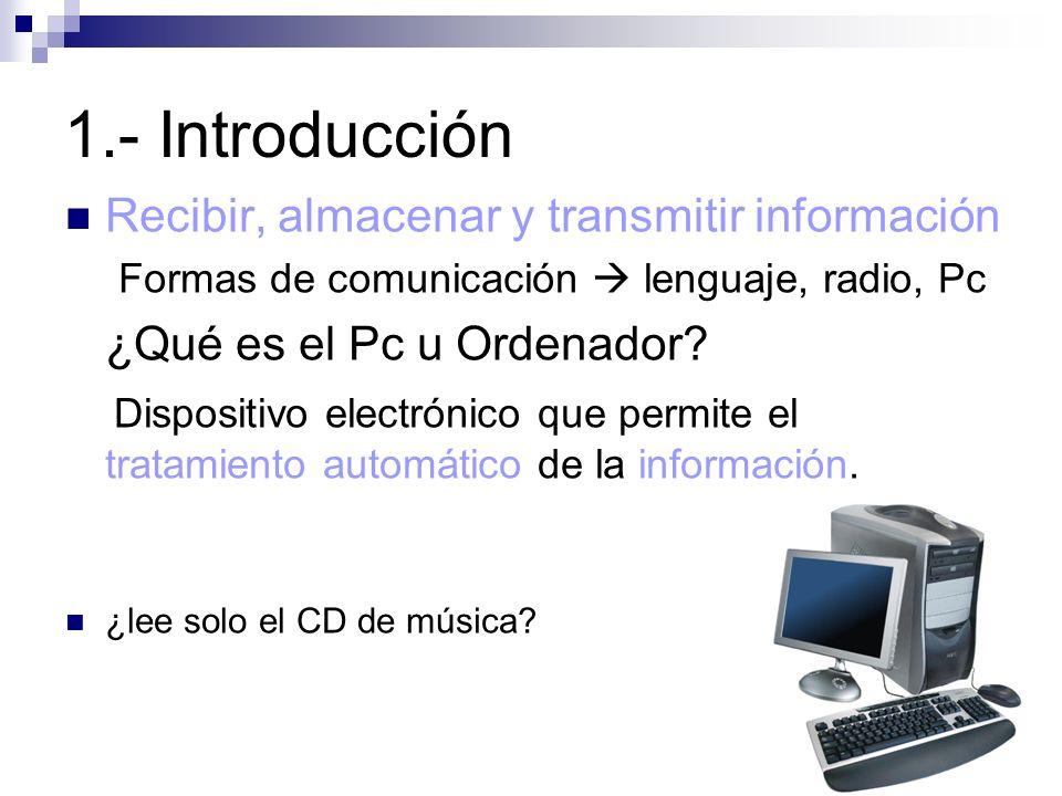 1.- Introducción Recibir, almacenar y transmitir información