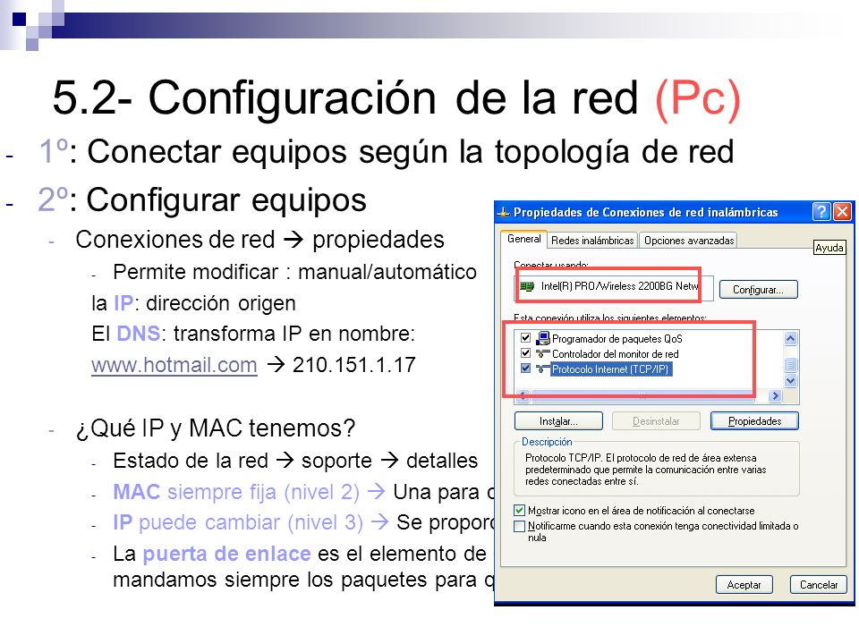 5.2- Configuración de la red (Pc)