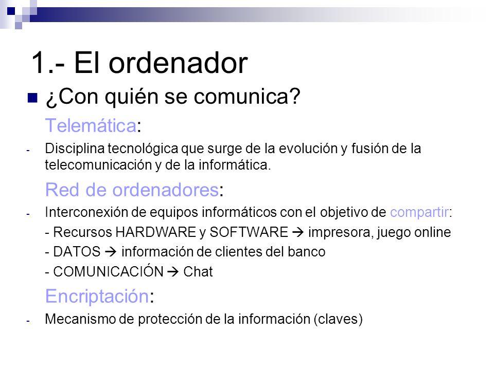 1.- El ordenador ¿Con quién se comunica Telemática: