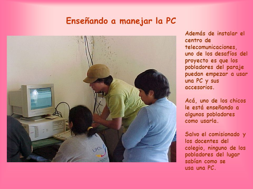 Enseñando a manejar la PC