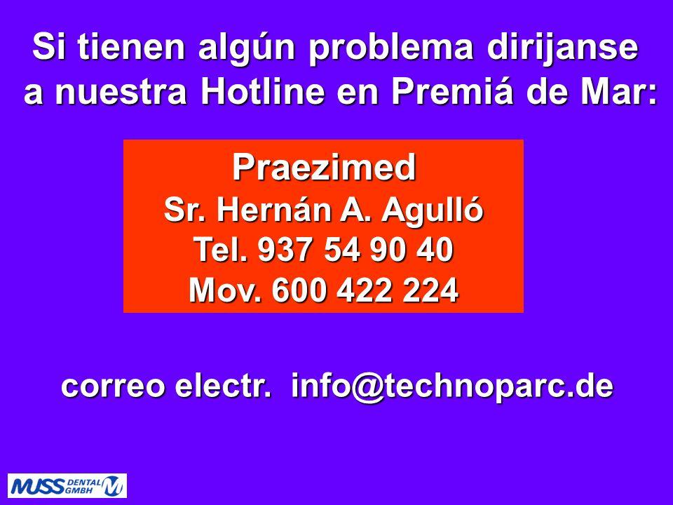 Si tienen algún problema dirijanse a nuestra Hotline en Premiá de Mar: