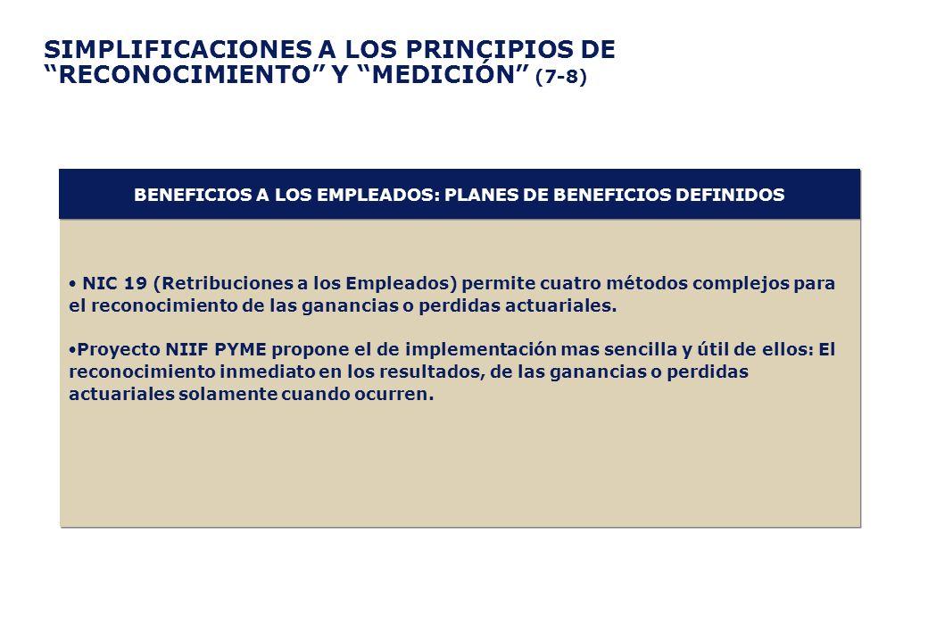 BENEFICIOS A LOS EMPLEADOS: PLANES DE BENEFICIOS DEFINIDOS