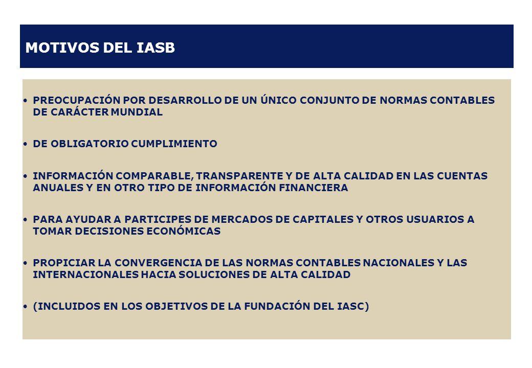 MOTIVOS DEL IASB PREOCUPACIÓN POR DESARROLLO DE UN ÚNICO CONJUNTO DE NORMAS CONTABLES DE CARÁCTER MUNDIAL.