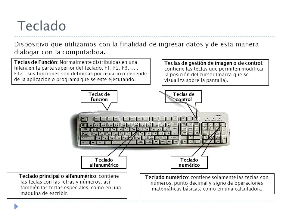 Teclado Dispositivo que utilizamos con la finalidad de ingresar datos y de esta manera dialogar con la computadora.