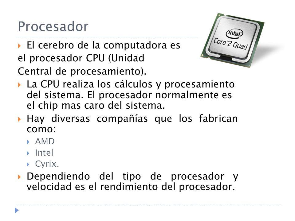 Procesador El cerebro de la computadora es el procesador CPU (Unidad