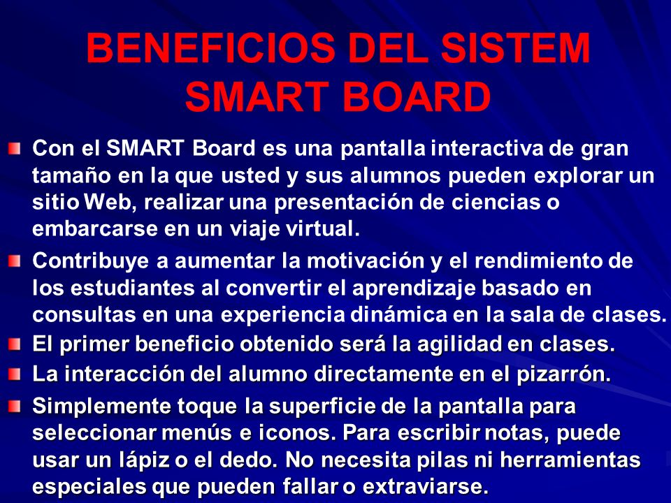BENEFICIOS DEL SISTEM SMART BOARD