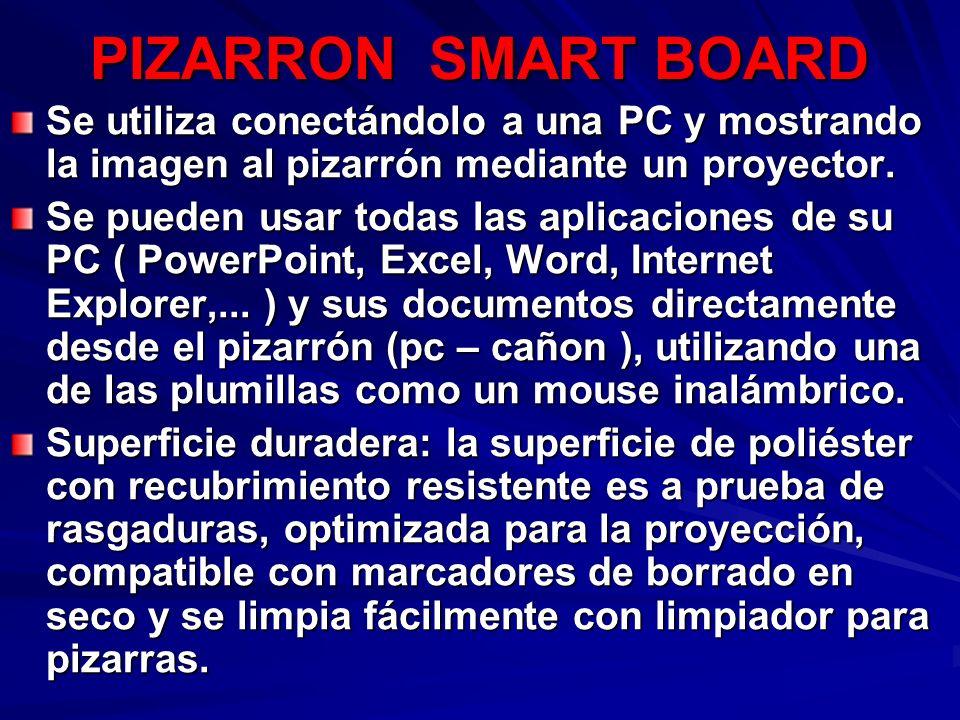 PIZARRON SMART BOARD Se utiliza conectándolo a una PC y mostrando la imagen al pizarrón mediante un proyector.