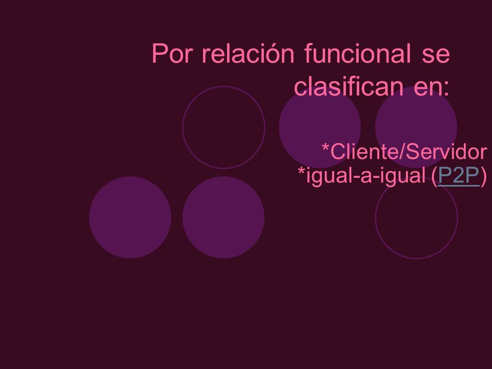 Por relación funcional se clasifican en: