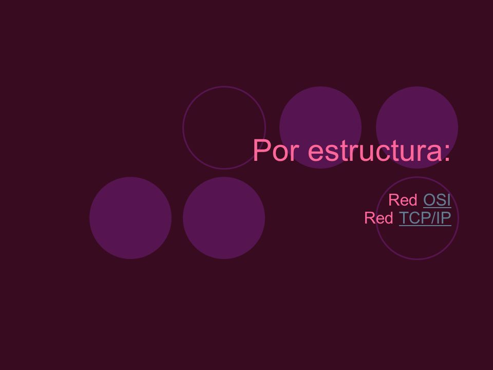Por estructura: Red OSI Red TCP/IP