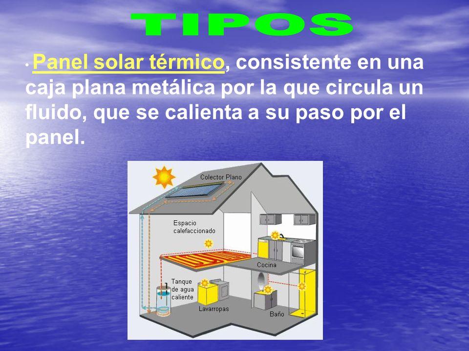 TIPOS Panel solar térmico, consistente en una caja plana metálica por la que circula un fluido, que se calienta a su paso por el panel.