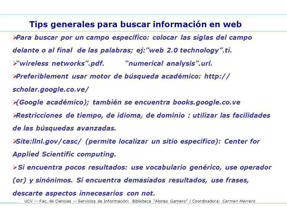 Tips generales para buscar información en web