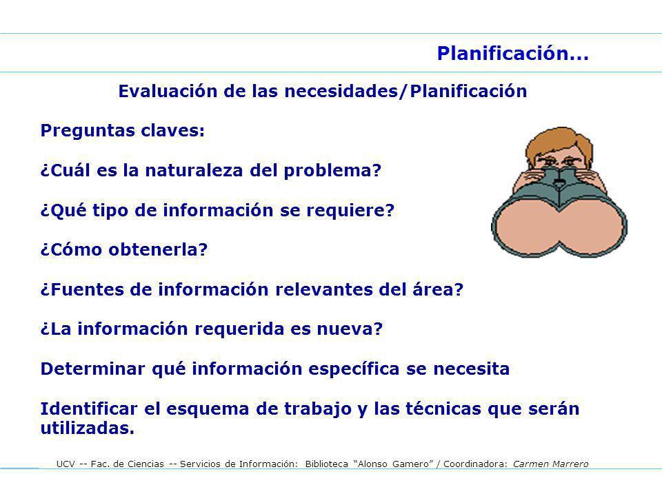 Evaluación de las necesidades/Planificación