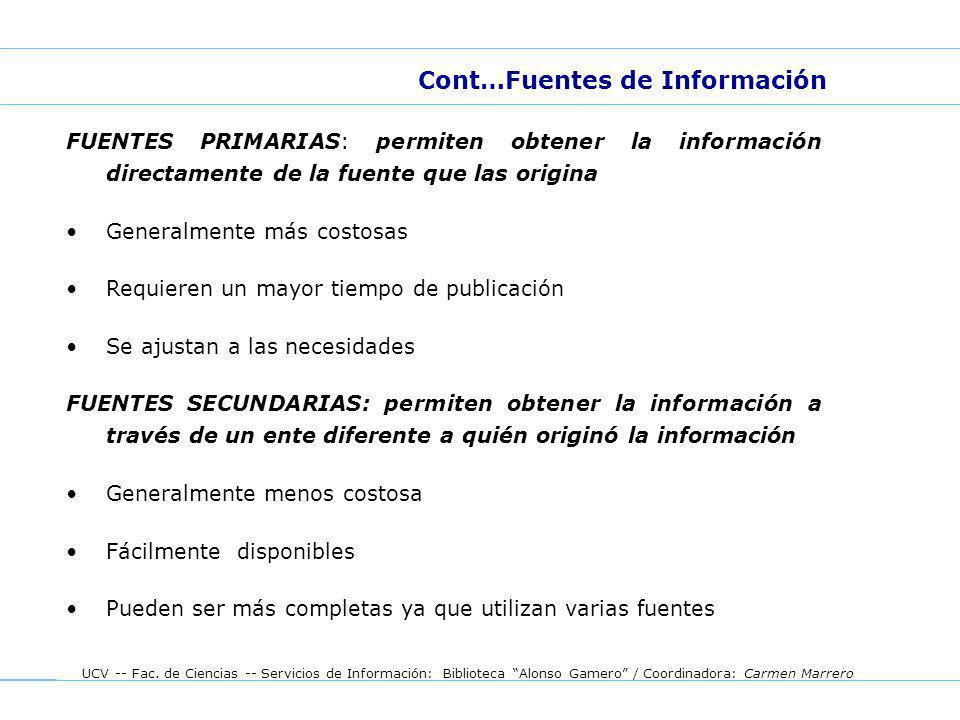 Cont…Fuentes de Información