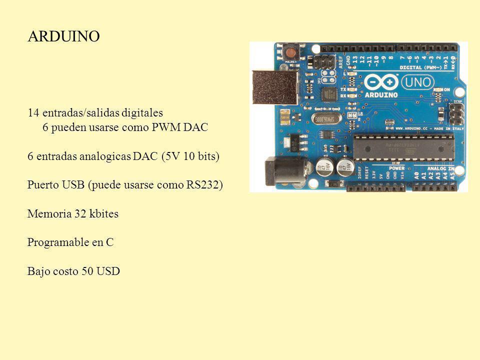 ARDUINO 14 entradas/salidas digitales 6 pueden usarse como PWM DAC