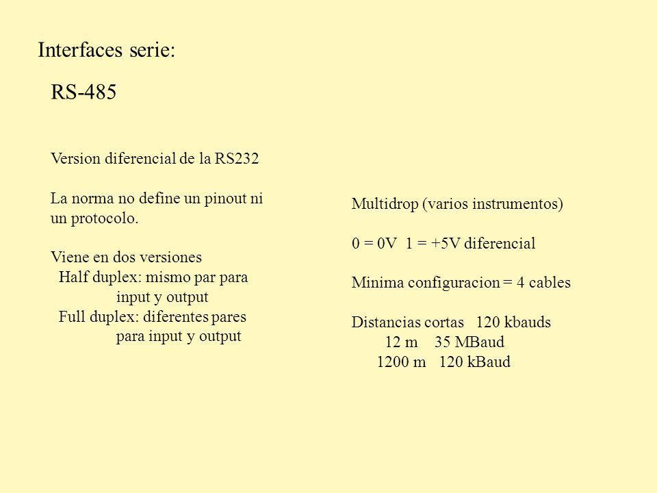 Interfaces serie: RS-485 Version diferencial de la RS232