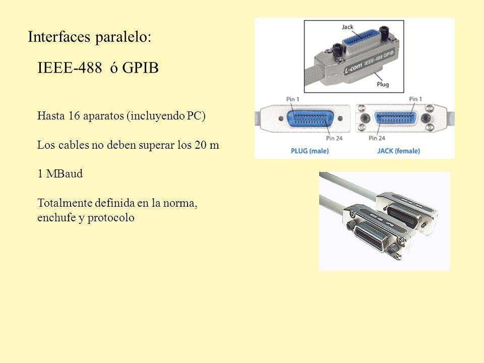 Interfaces paralelo: IEEE-488 ó GPIB Hasta 16 aparatos (incluyendo PC)