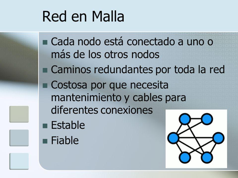 Red en Malla Cada nodo está conectado a uno o más de los otros nodos